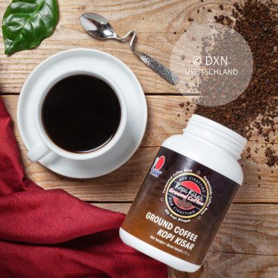 DXN Civattino Kaffee Packung mit einer Tasse Kaffee