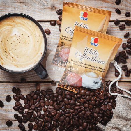 DXN White Kaffee Zhino Packung mit einer Tasse Kaffee