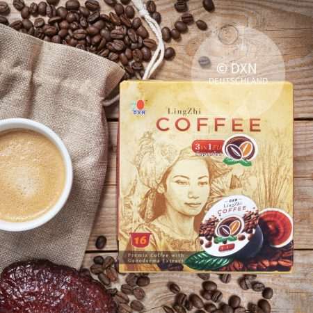 DXN Lingzhi Kaffee 3 in 1 EU Kapseln und Packung