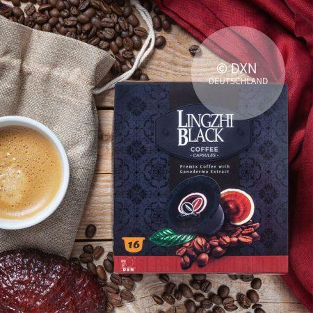 DXN Lingzhi Black Kaffee Kapseln mit einer Tasse Kaffee